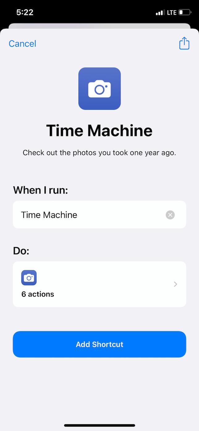 iOS shortcut: Time Machine