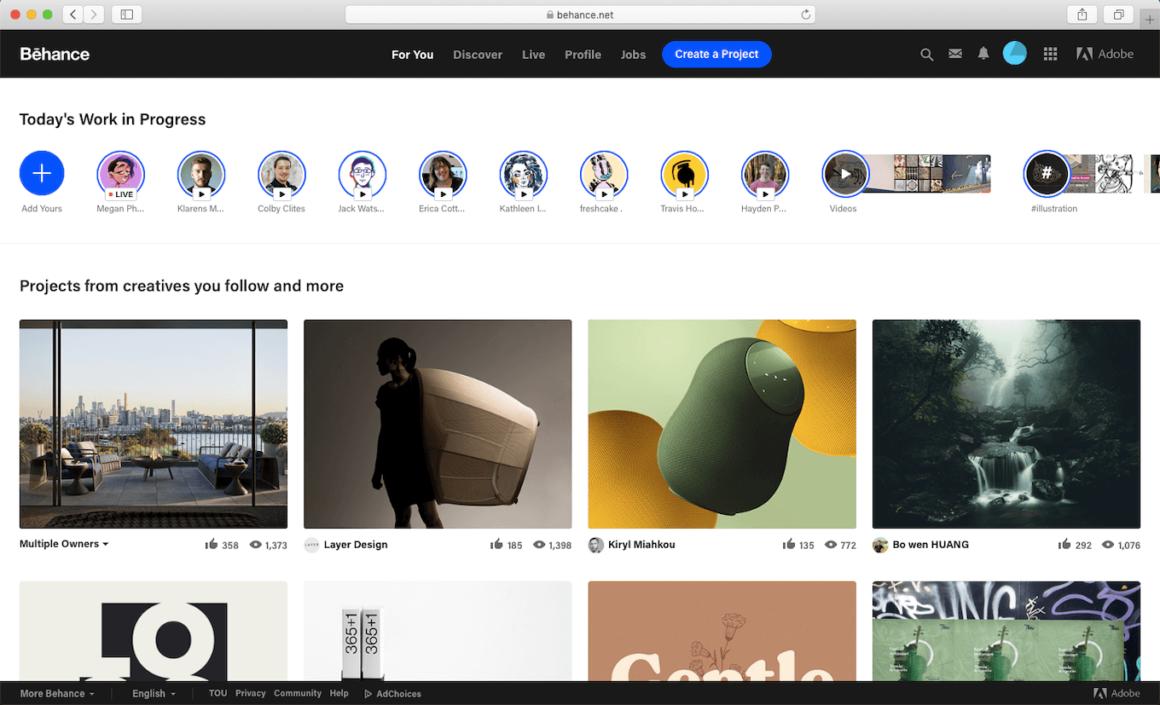 Behance, a popular image share website