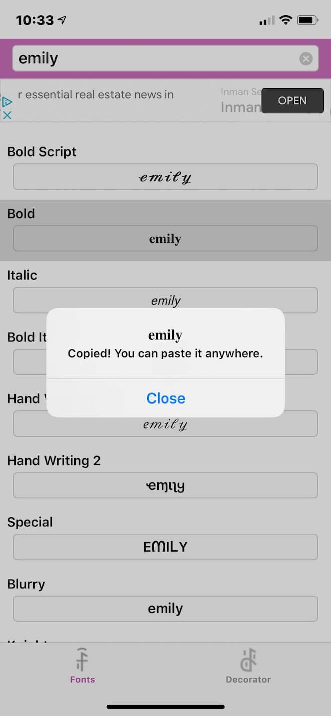 Cool Fonts for Instagram, an app for custom IG fonts