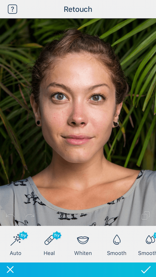 A portrait ready for editing using Facetune2