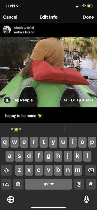 How to edit an Instagram caption