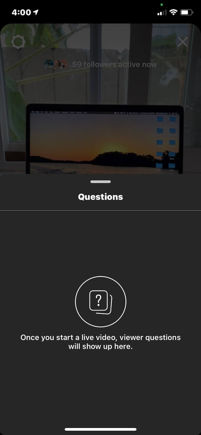 Screenshot showing you how to view questions on your Instagram Live