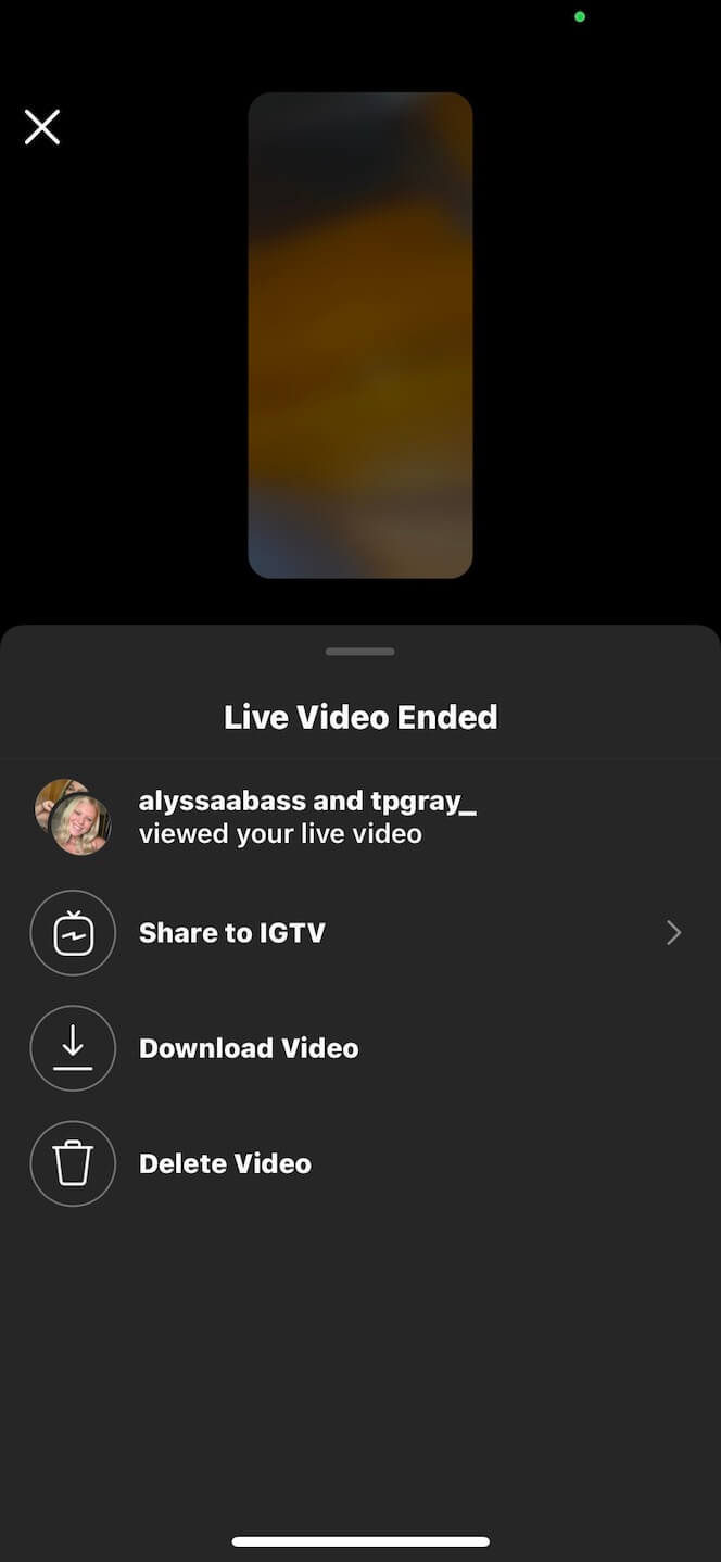 Screenshot showing you how to save an Instagram Live video