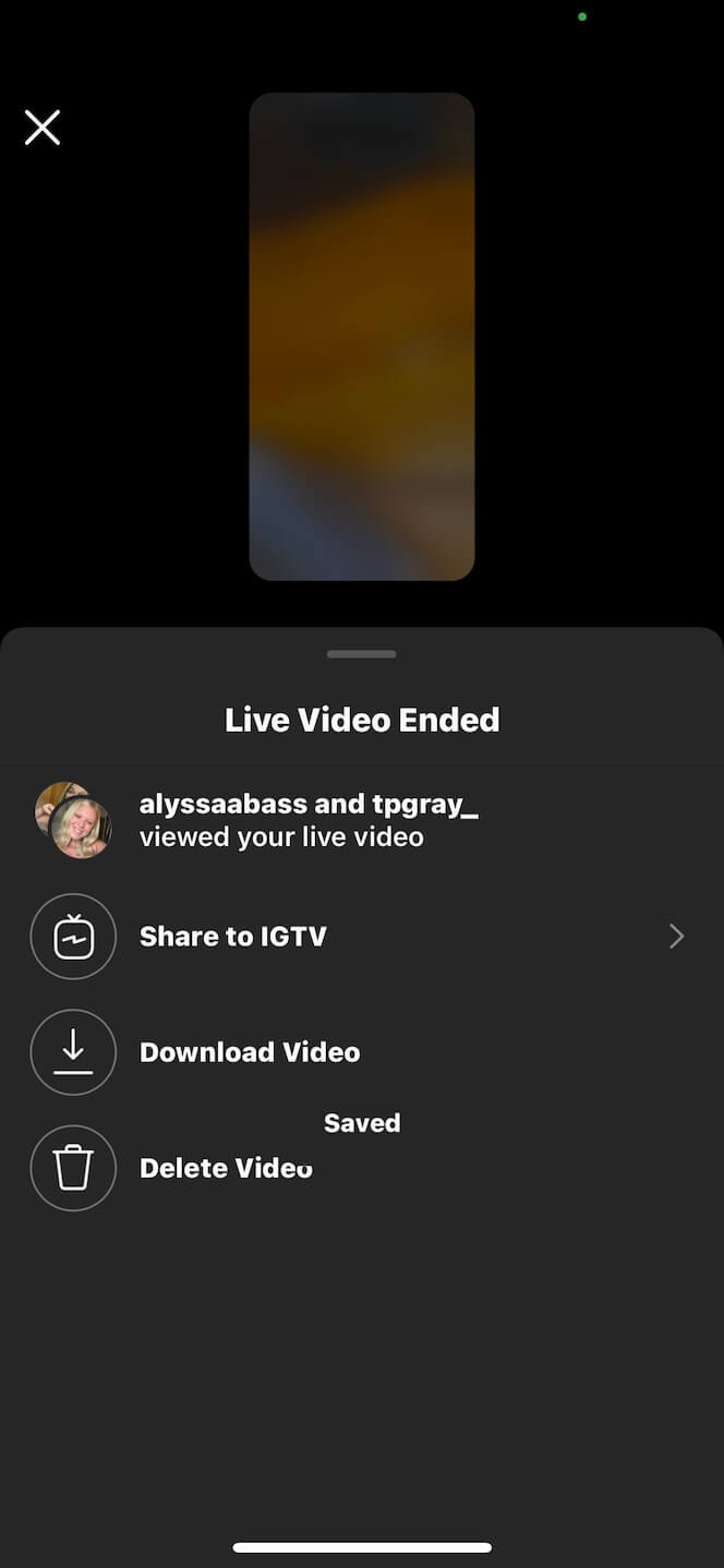 Screenshot showing you what it looks like when you save your Instagram Live video