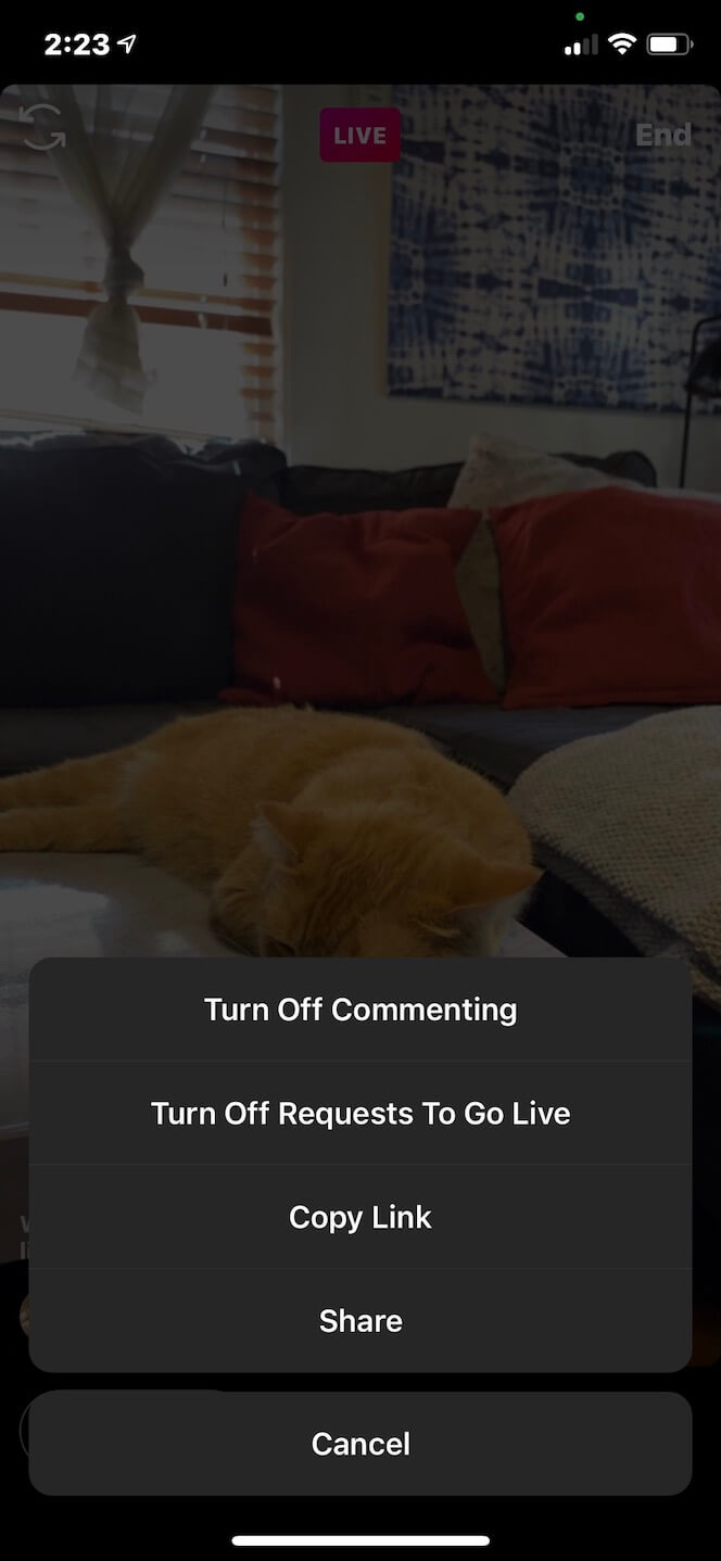 Screenshot showing you how to turn off commenting on Instagram Live