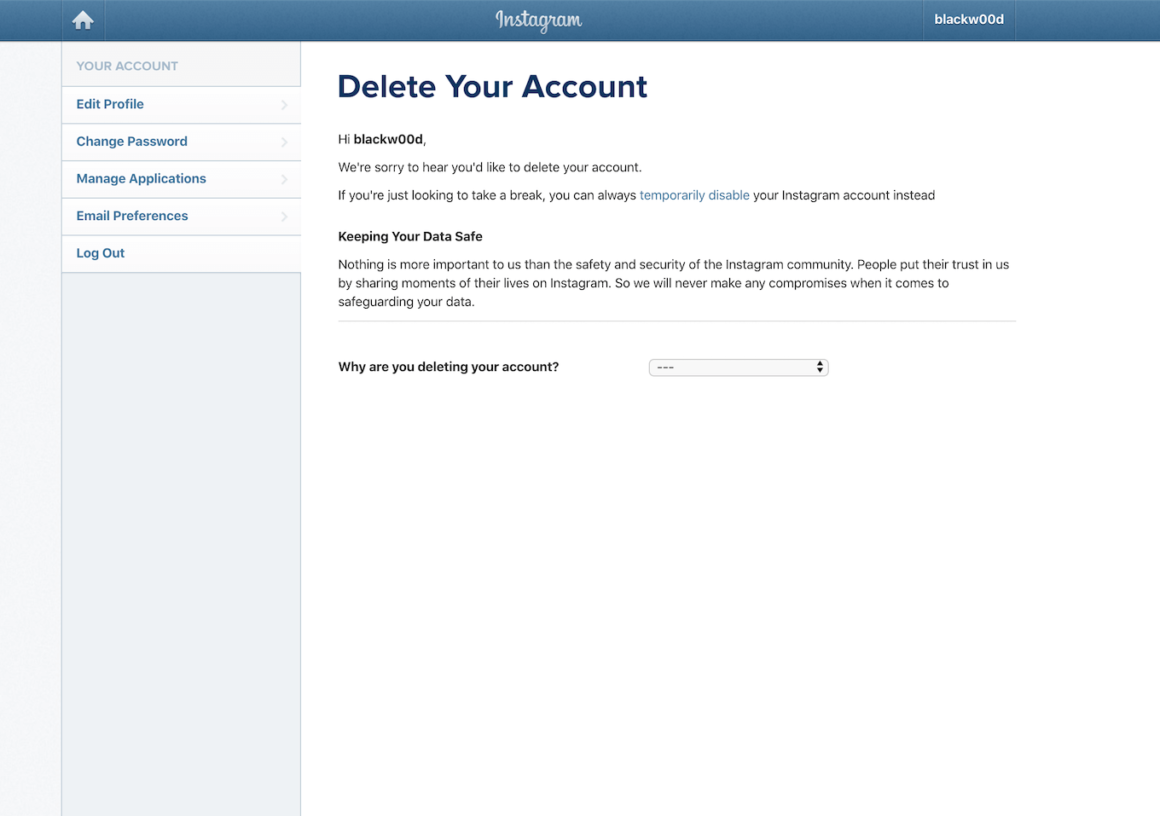 How to permanently delete your Instagram