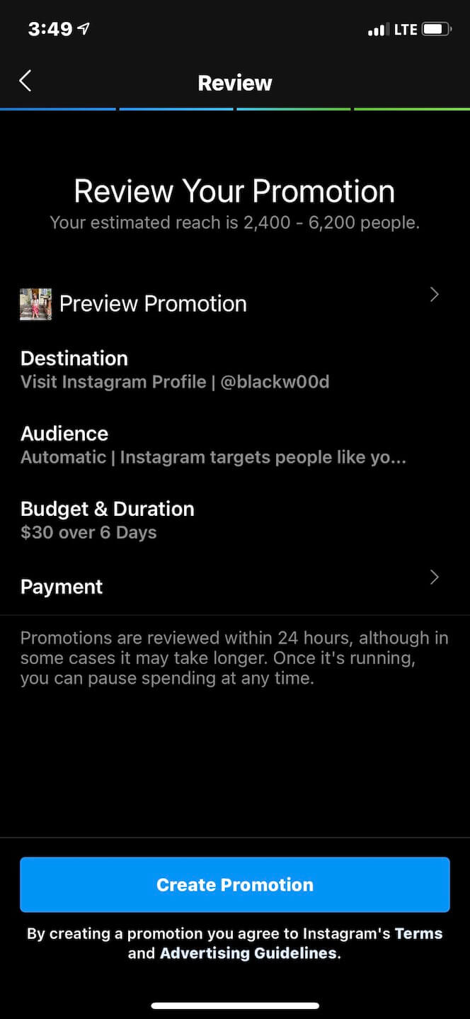 Second screenshot showing how to sponsor a post on Instagram