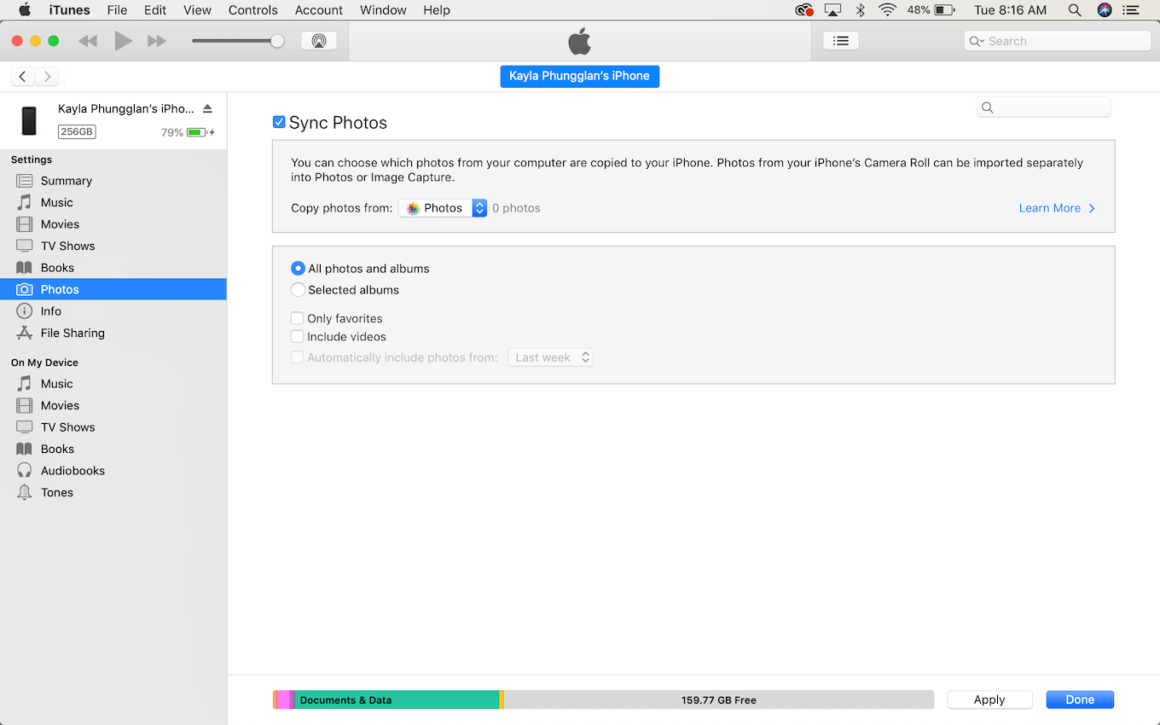 How to move photos from Mac to iPhone with iTunes