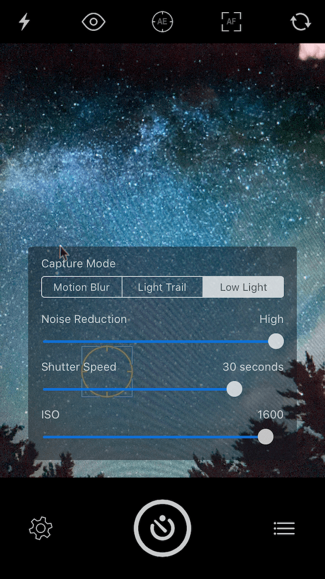 A screenshot of Slow Shutter Cam settings for night photography with iPhone