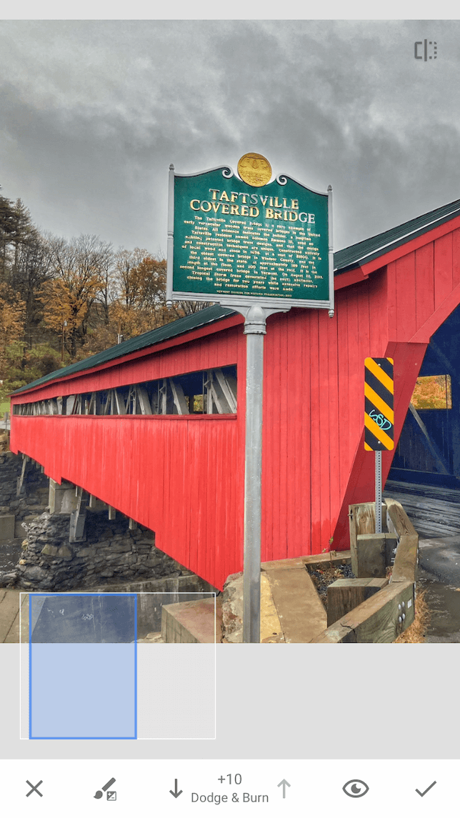 A screenshot of a covered bridge to demonstrate how to use the brush tool in Snapseed