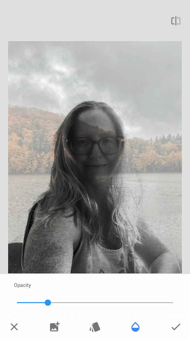 A screenshot of a woman to demonstrate how to use Snapseed's double exposure tool