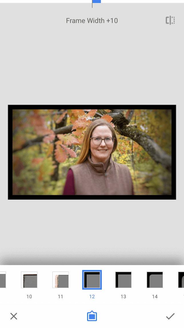 A screenshot demonstrating how to use frames in Snapseed
