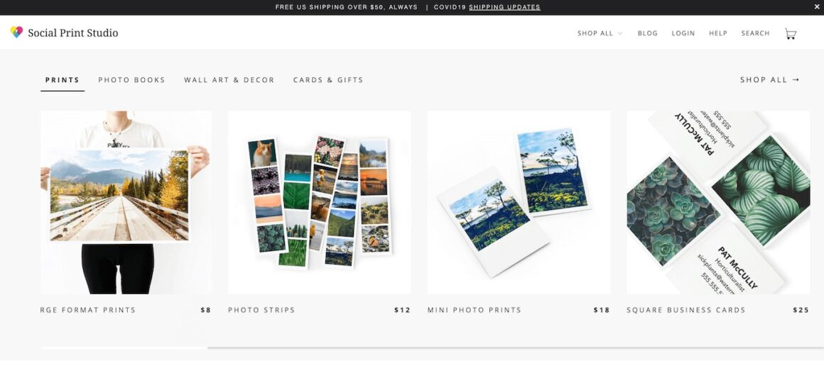 Screenshot of Social Print Studio, a photo printing website that lets you print on a variety of mediums