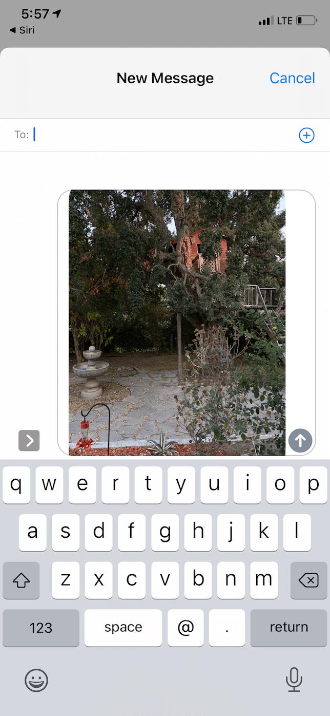 Text Last Image, an iPhone shortcut