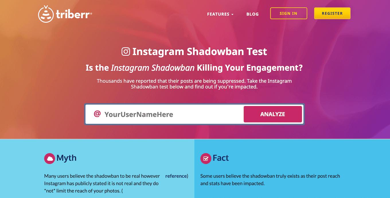 Screenshot showing the Instagram Shadowban Test