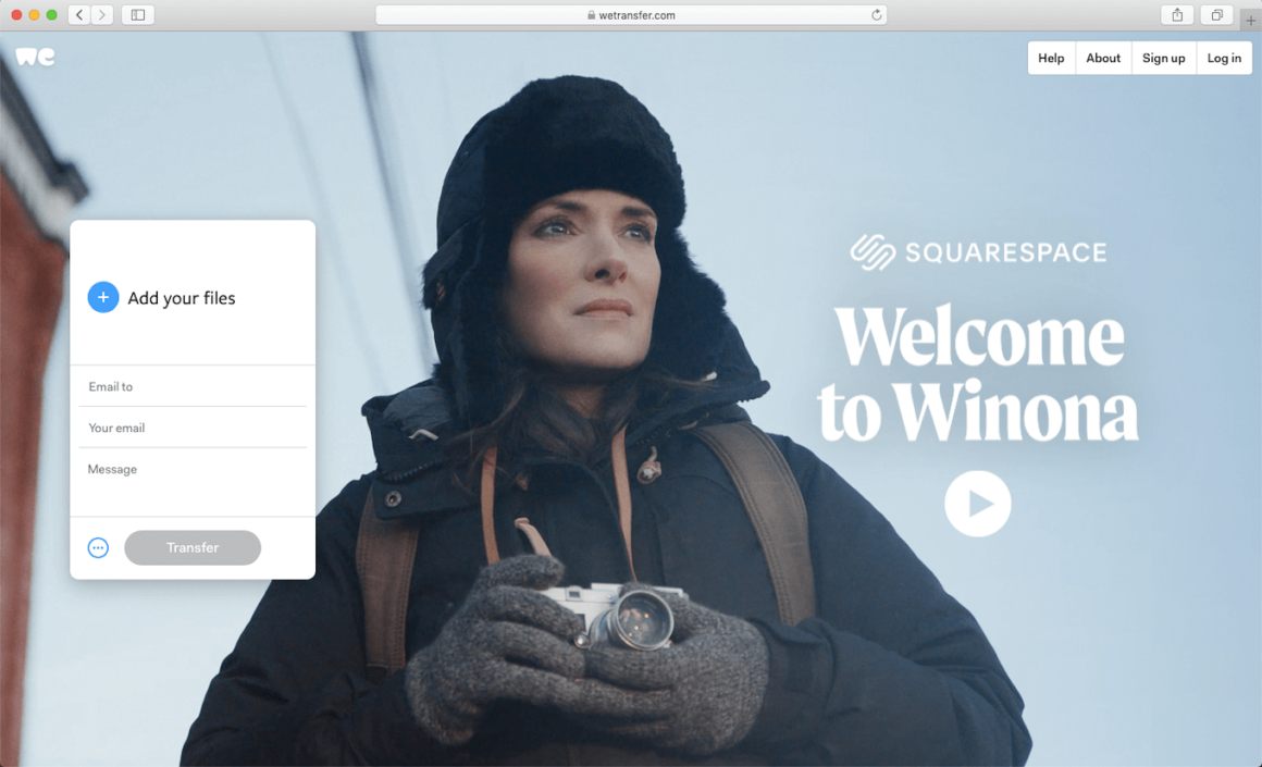 WeTransfer, a website to share pictures with friends and family