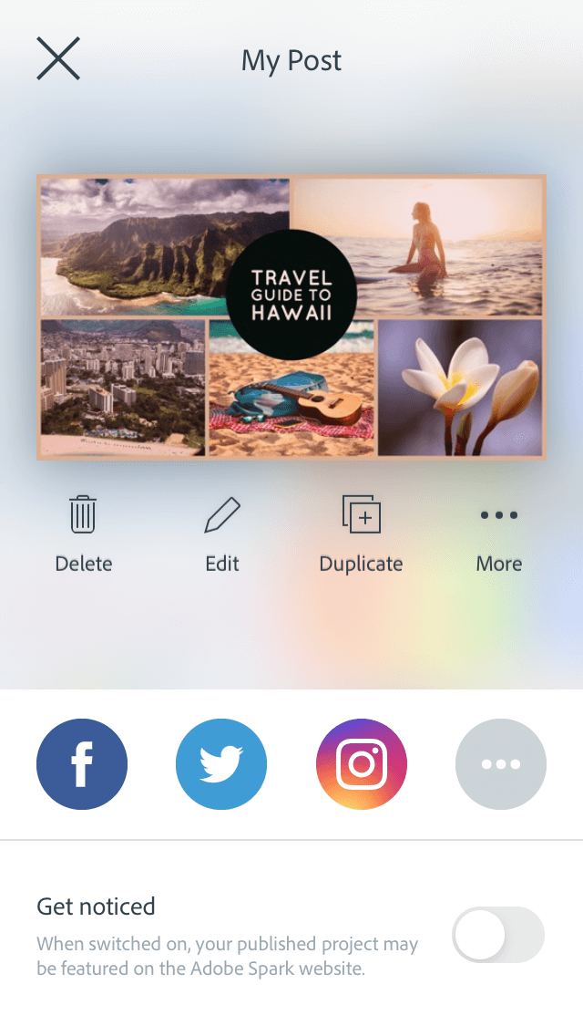 Adobe Spark, one of the best iOS apps for photo editing
