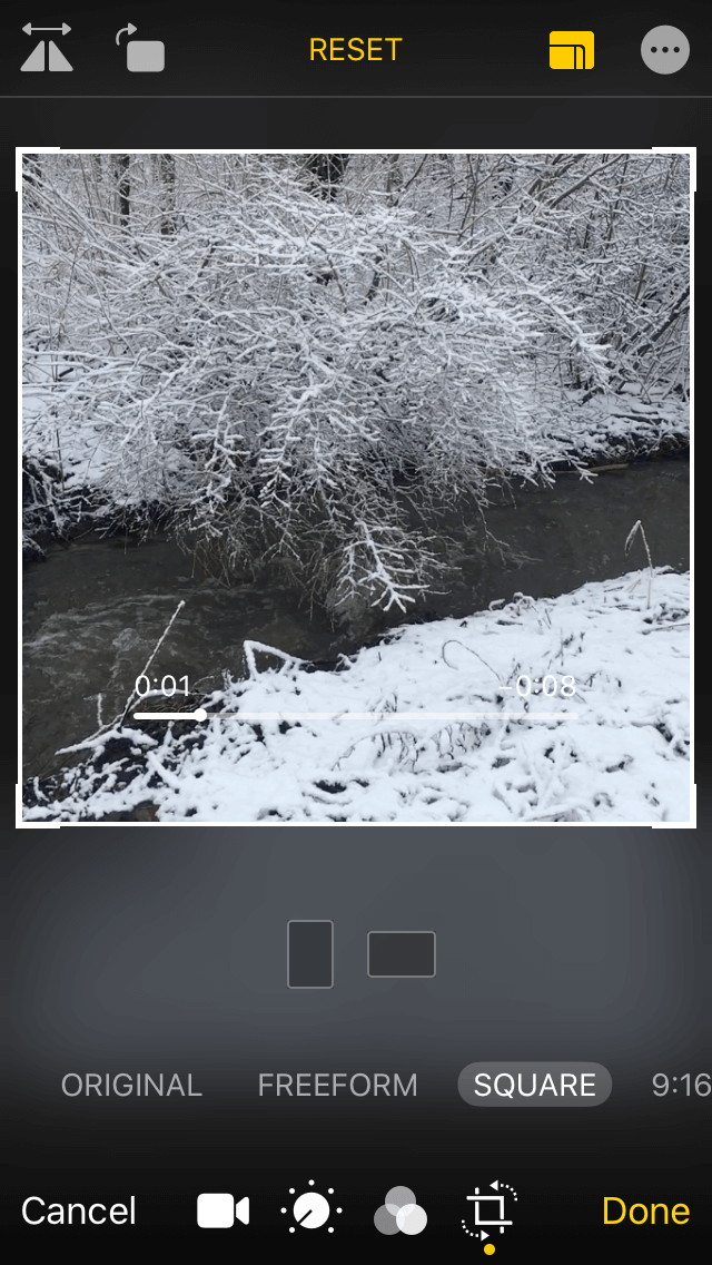 How to change the aspect ratio of a video in Photos: Step 1