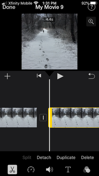 How to cut an iMovie clip into parts