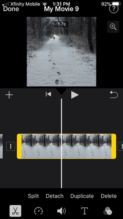 How to cut an iMovie video into two parts