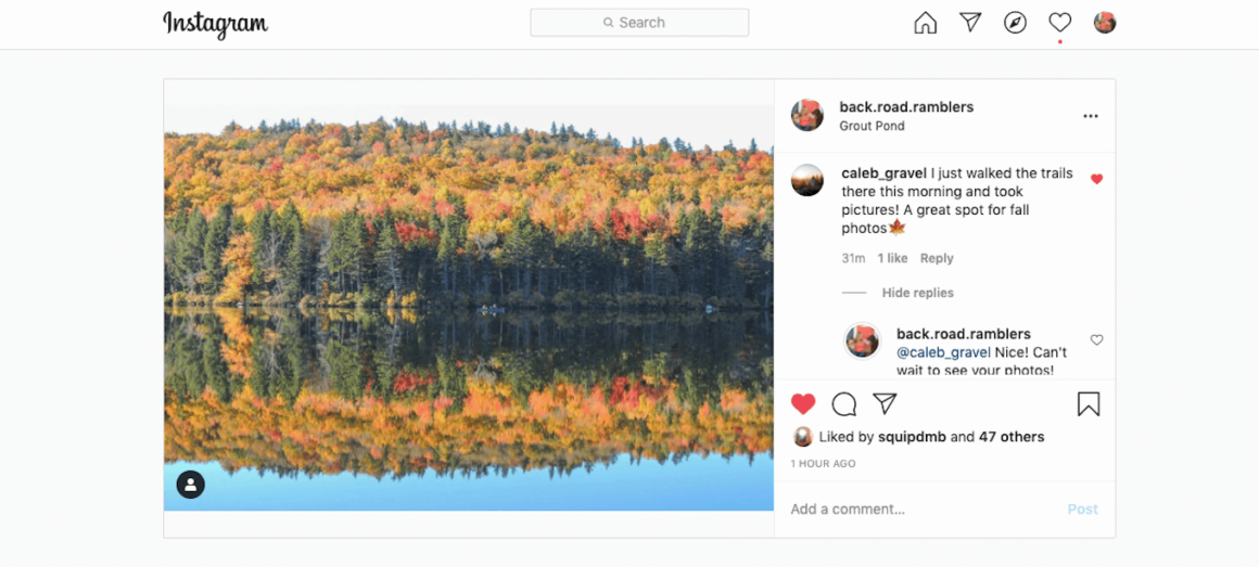 A screenshot of an Instagram photo, as well as examples of engaging comments.