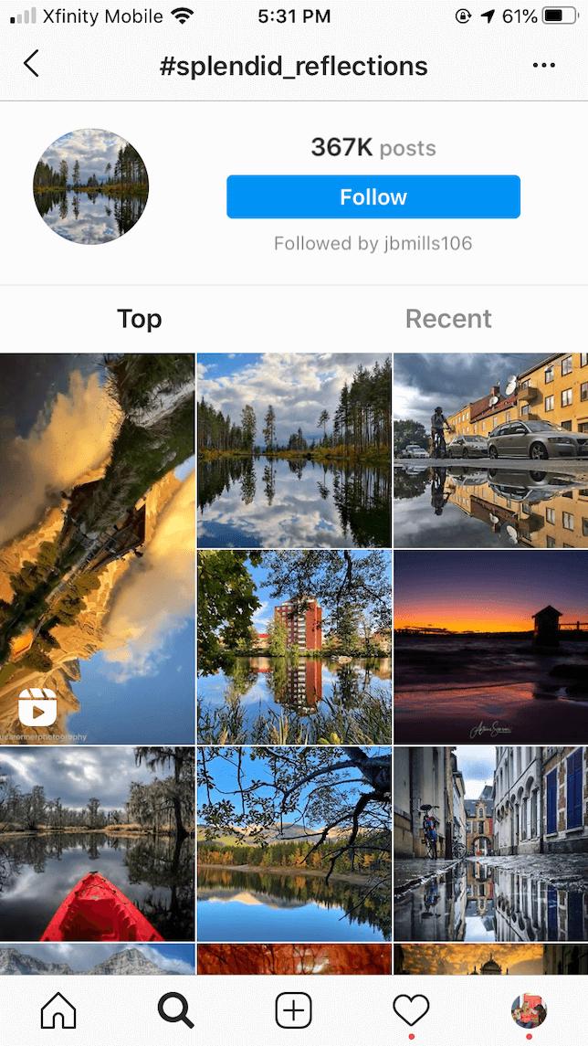 A screenshot demonstrating how to follow hashtags