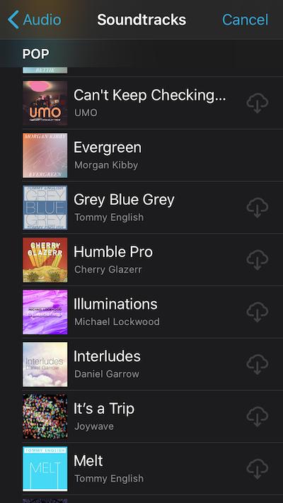 iMovie soundtrack library