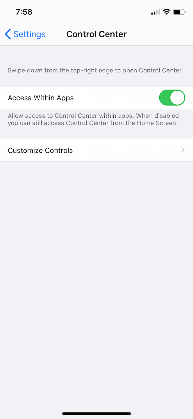 How to set the Control Center access