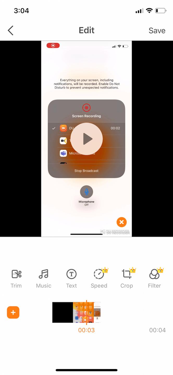 DU Recorder, a phone screen recording app
