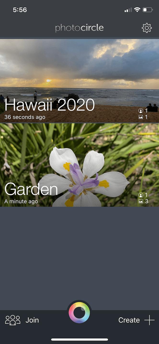 Photo Circle, an iOS photo sharing app