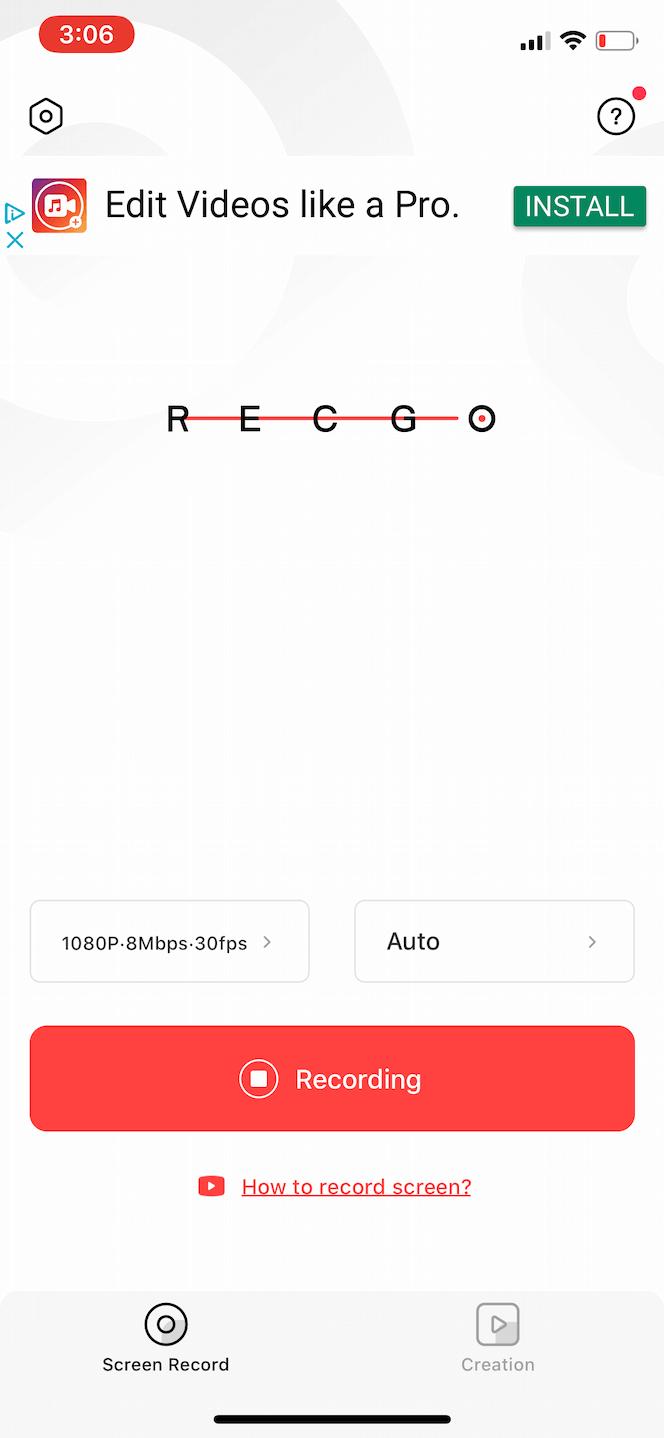 Recgo, a video screen recorder for iPhone