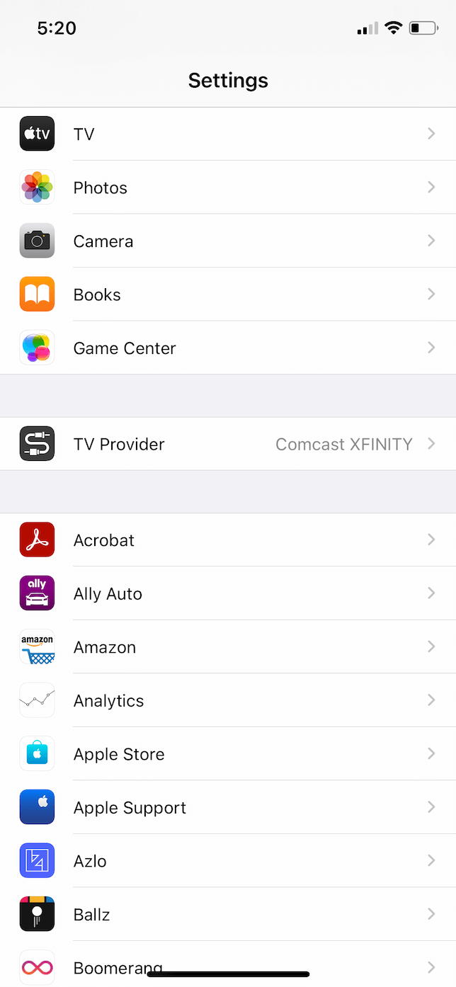 Settings app in iOS 14