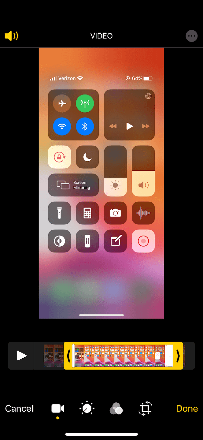 How to shorten a screen recording in iOS