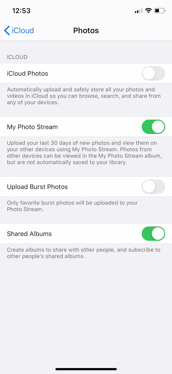 How to enable iPhone Photo Stream