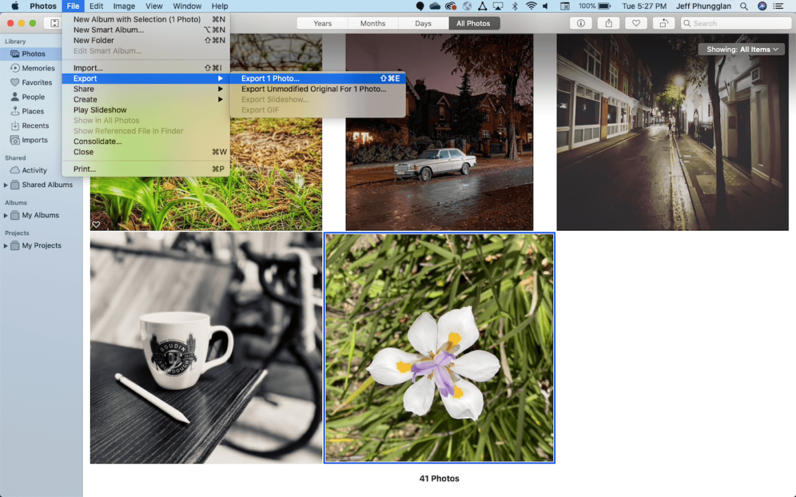 Export pictures as JPG using Photos app in macOS