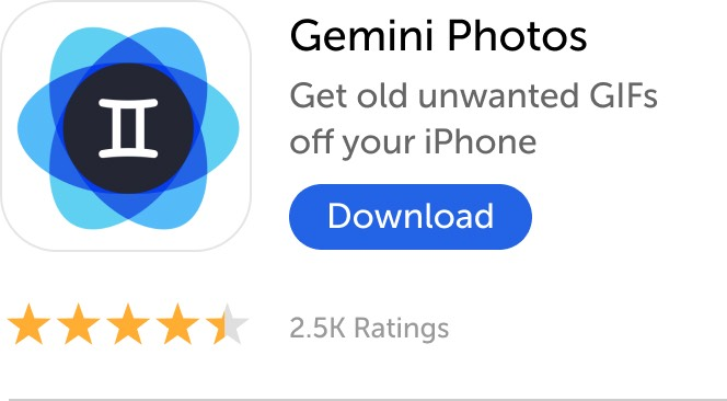 Mobile banner: Download Gemini Photos and get old unwanted GIFs off your iPhone