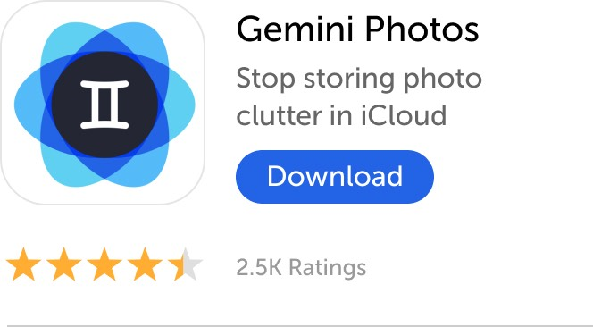 Mobile banner: Download Gemini Photos and stop storing photo clutter in iCloud