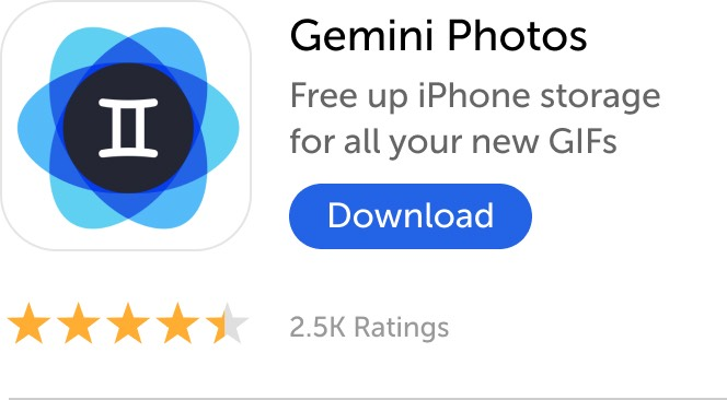 Mobile banner: Download Gemini Photos and fre up iPhone storage for all your new GIFs