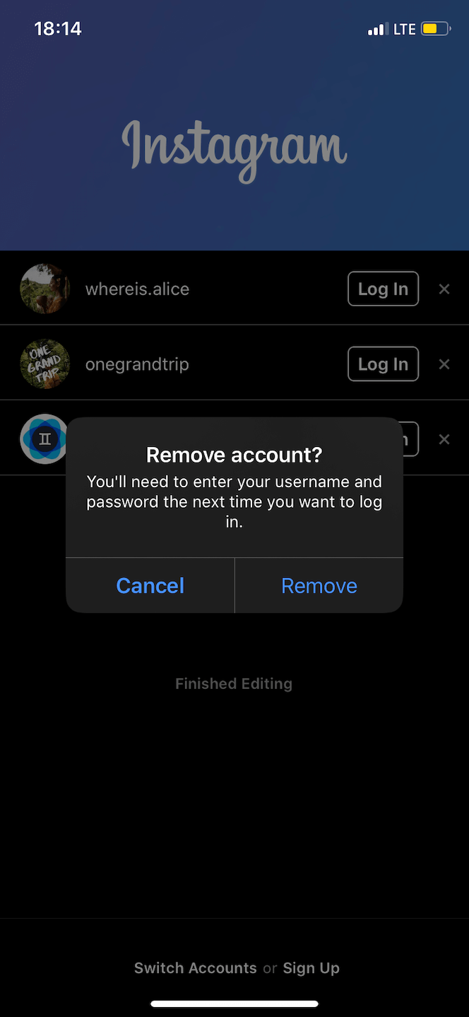 How to remove an account from the Instagram app