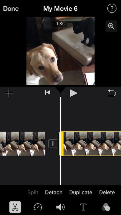 How to split video clips in iMovie for iOS