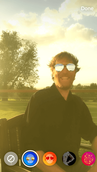 A Photo with the Sunglasses Story effect applied