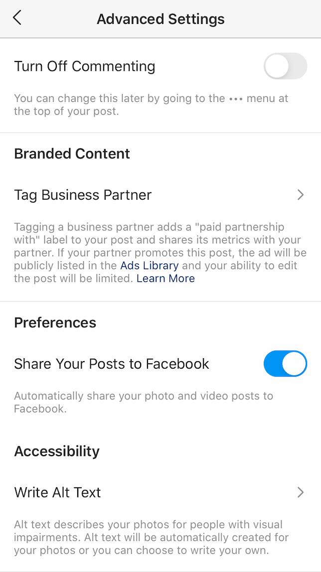 A screenshot of Advanced settings in Instagram