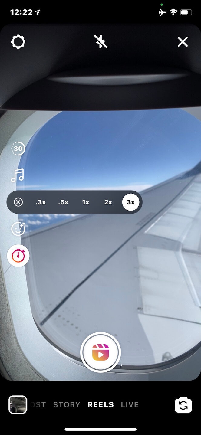 Screenshot showing how to select your Reel speed