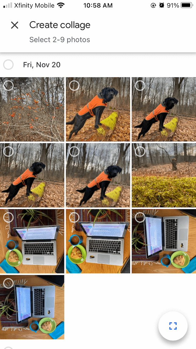 The collage making process using the Google Photos app