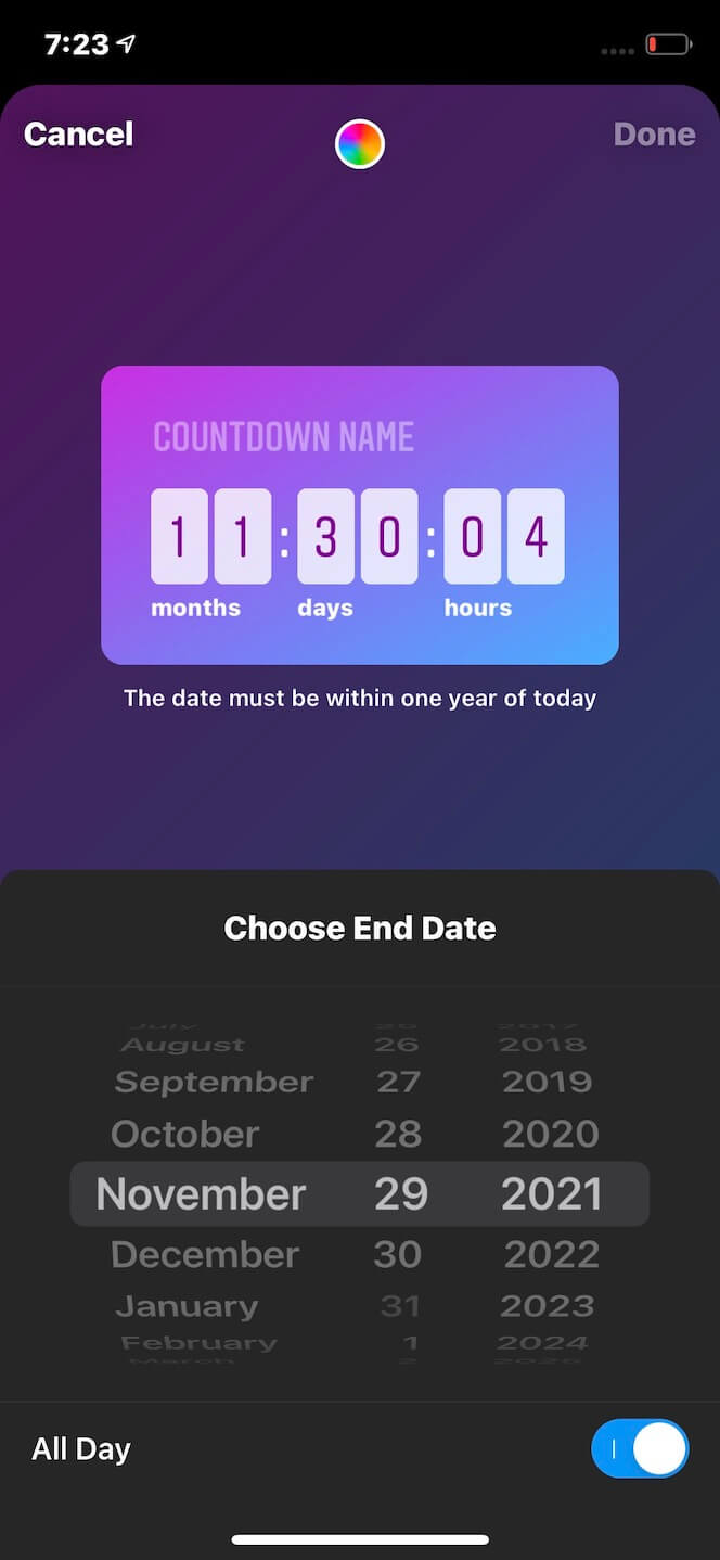 Second screenshot showing how to add a countdown to Stories
