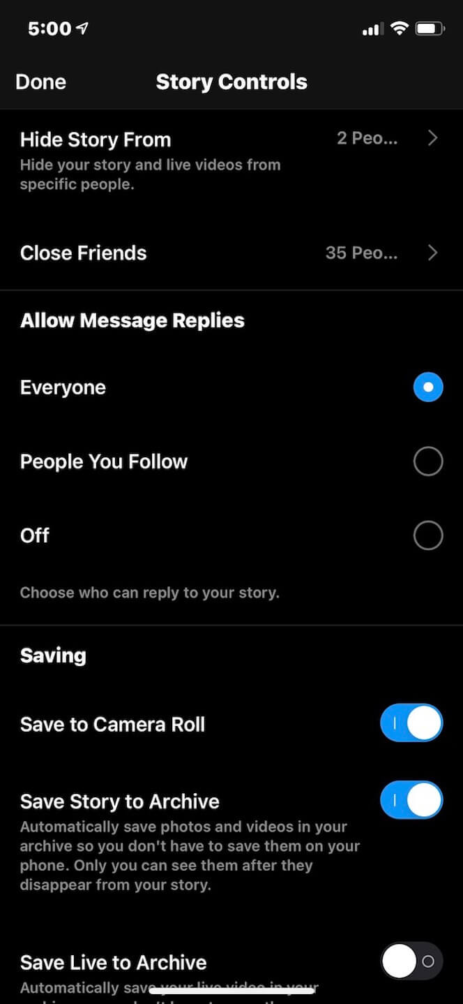 Second screenshot showing how to save videos posted to your Stories