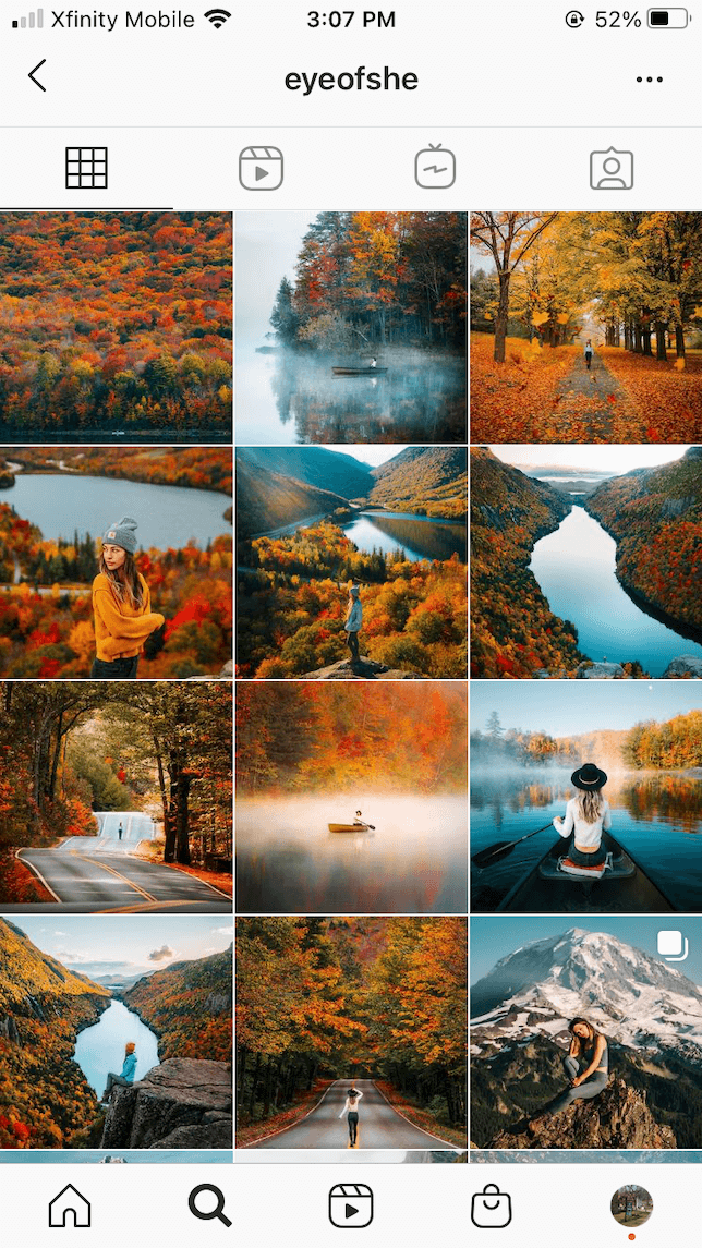A screenshot of a theme on Instagram featuring photos of fall colors..