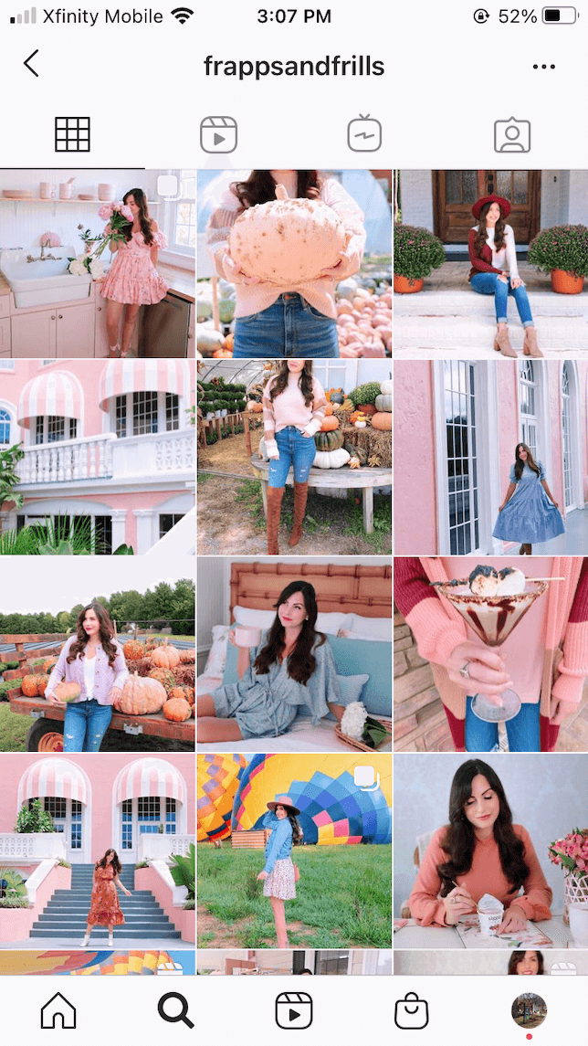 A screenshot of an Instagram theme featuring lots of photos with pink colors and selfies.