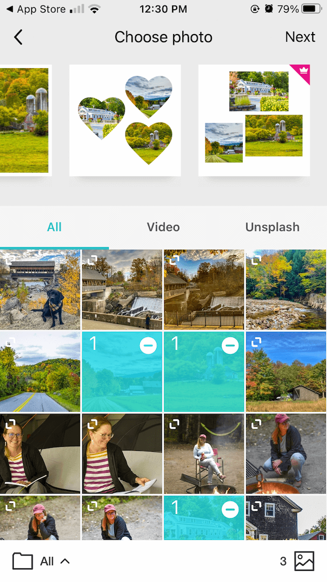 Layouts available for both photo and video on PhotoGrid