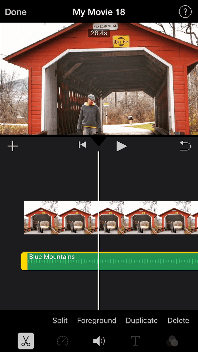 A screenshot showing how to add music to a video in iMovie